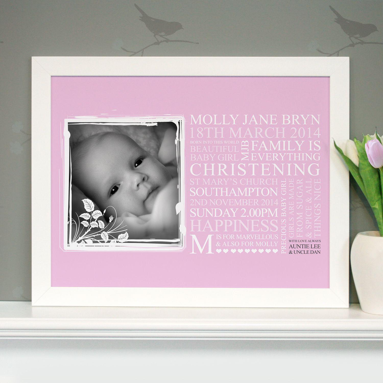 Personalised baby christening art gift negle Gallery